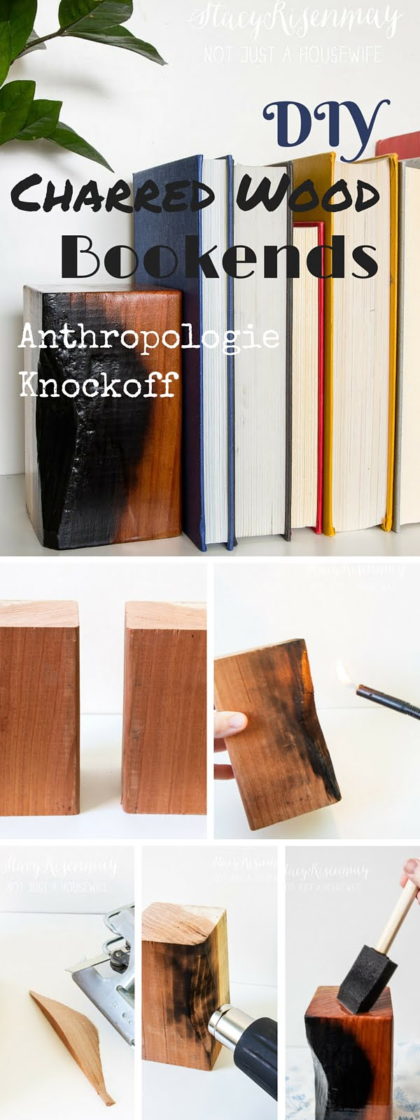 Check out the tutorial:   Charred Wood Bookends Knockoff