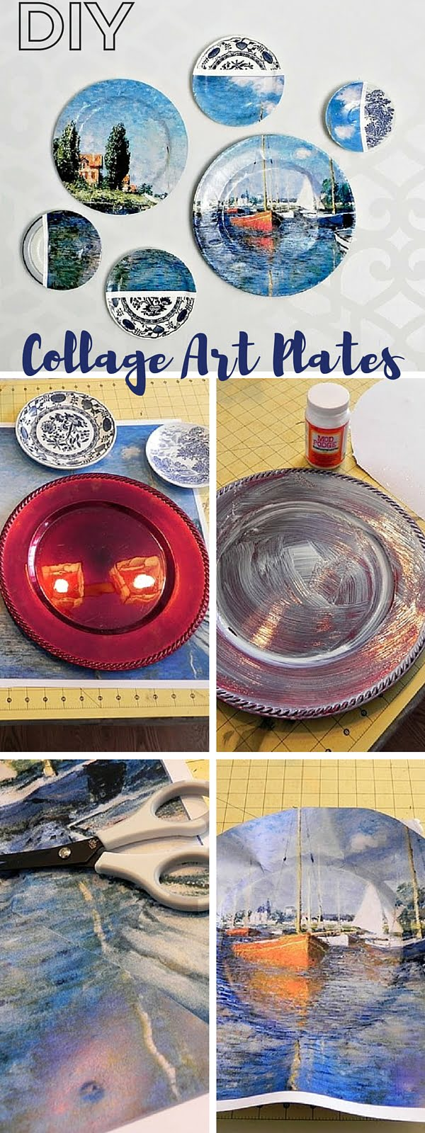 Check out the tutorial:   Collage Art Plates Knockoff