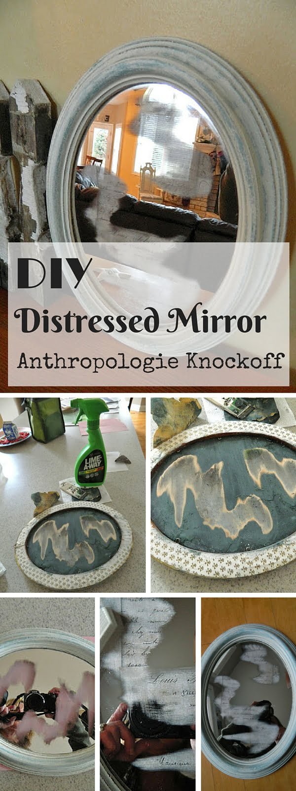 Check out the tutorial:  Anthropologie Distressed Mirror Knockoff