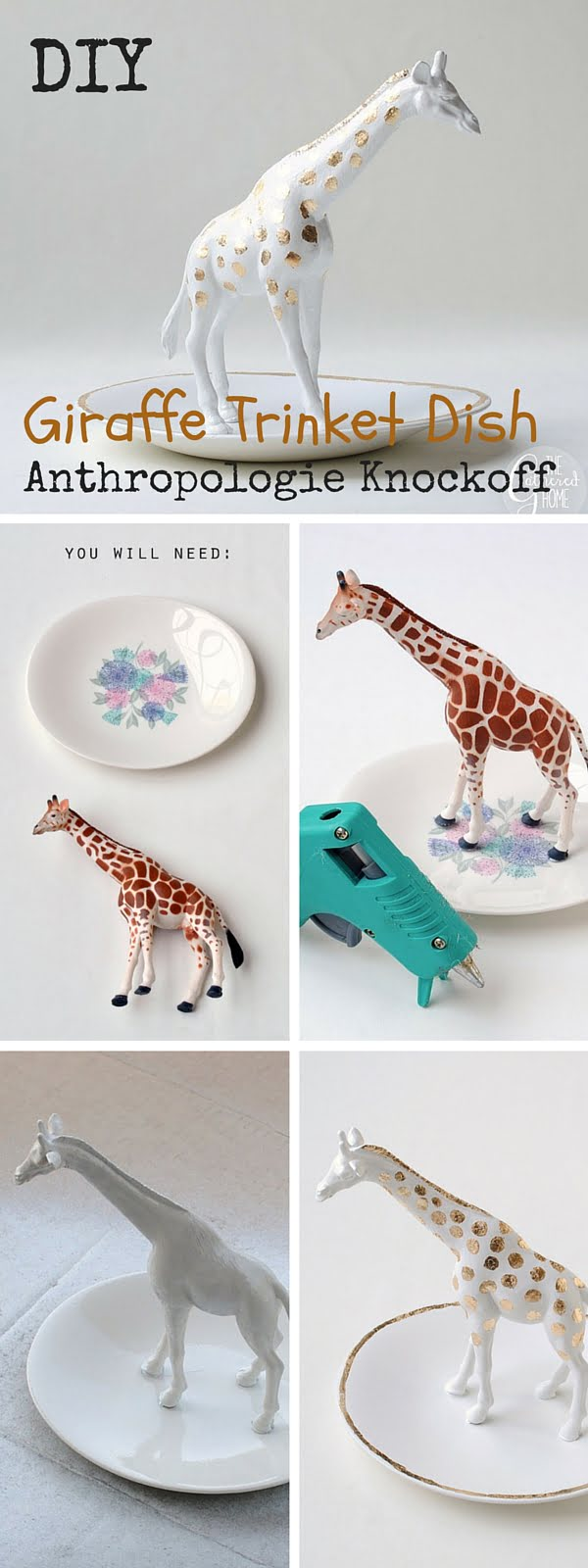 Check out the tutorial:   Giraffe Trinket Dish Knockoff