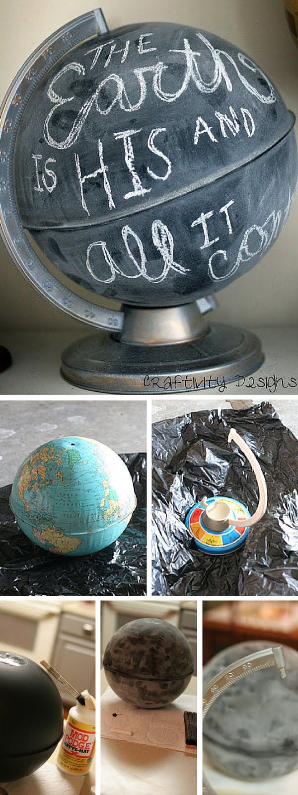 Check out the tutorial:   Chalkboard Globe Knockoff