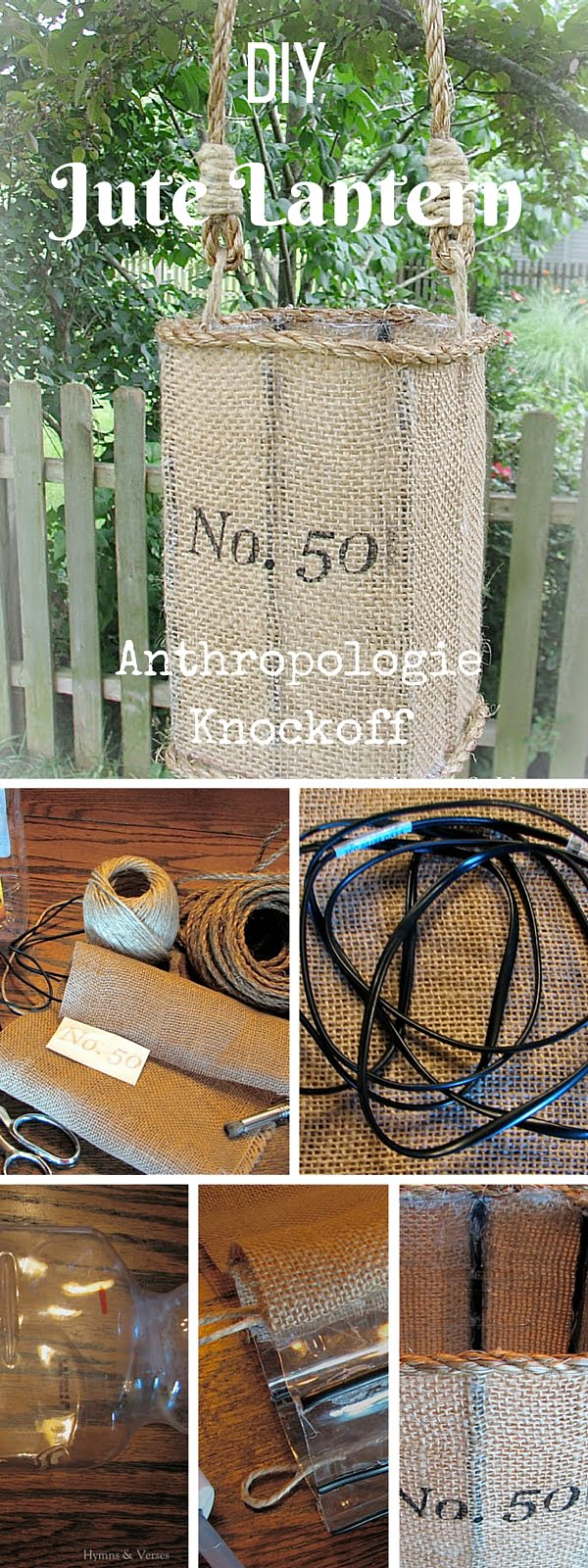 Check out the tutorial:  Anthropologie Jute Lantern Knockoff