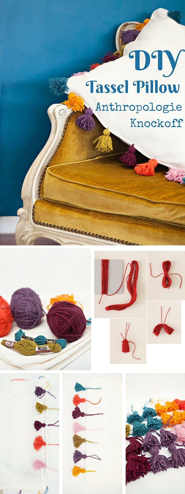 Check out the tutorial:   Tassel Pillow Knockoff