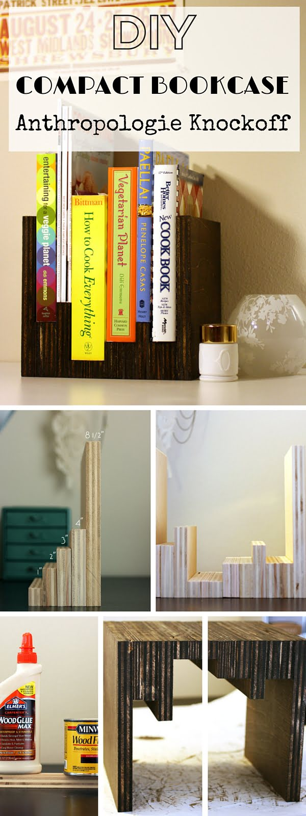Check out the tutorial:  Anthropologie Compact Bookcase Knockoff