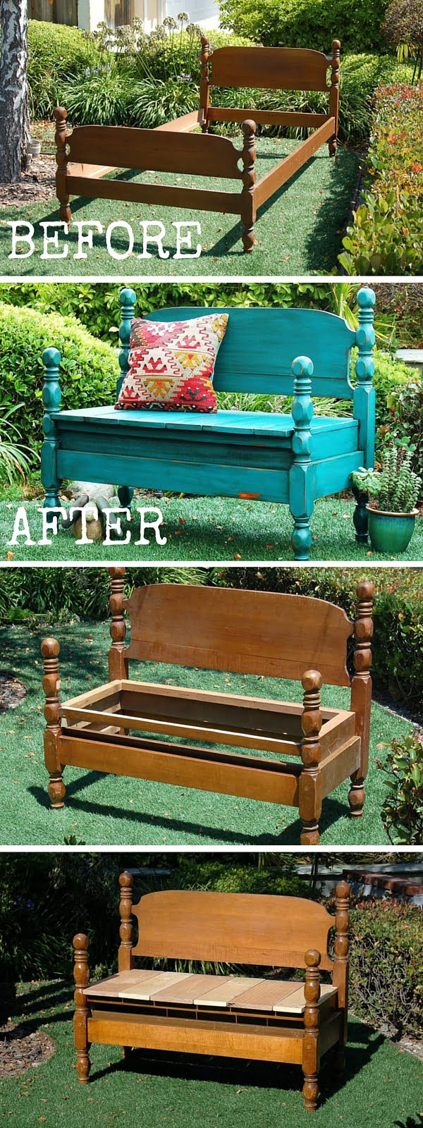 Check out the tutorial:  Turn an Old Bed Into a Bench