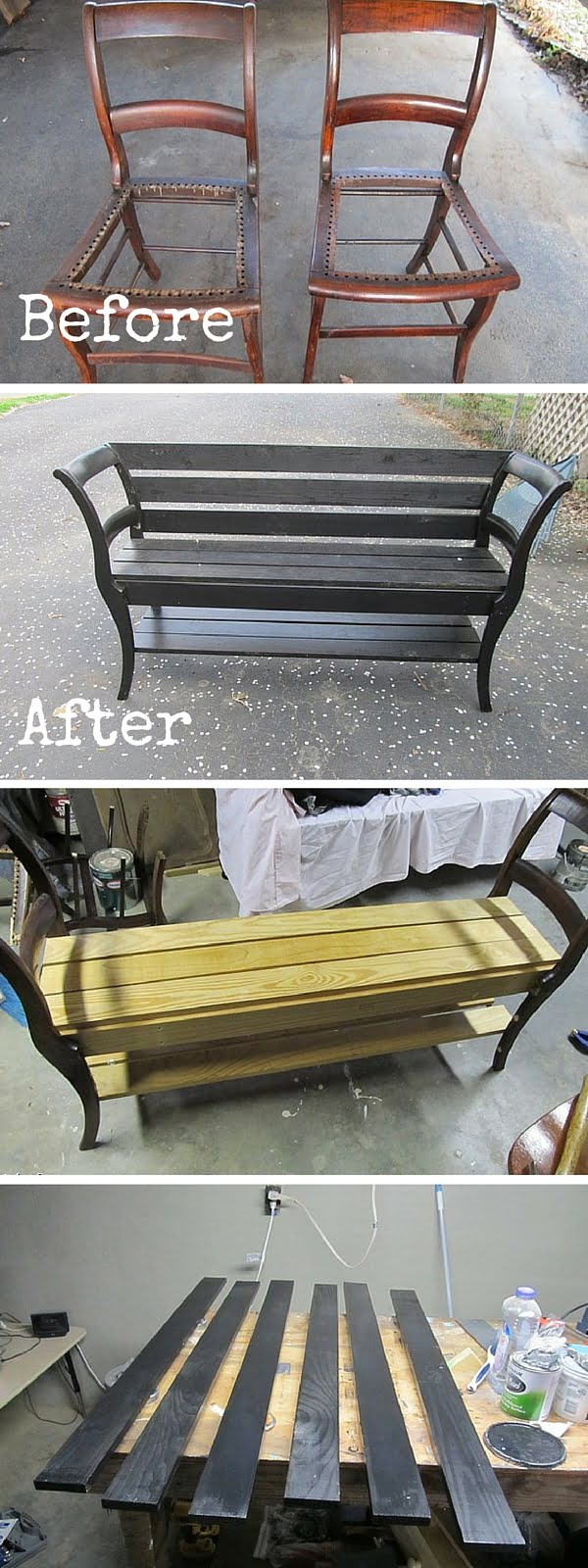 Check out the tutorial:  Turn 2 Chairs into a Bench