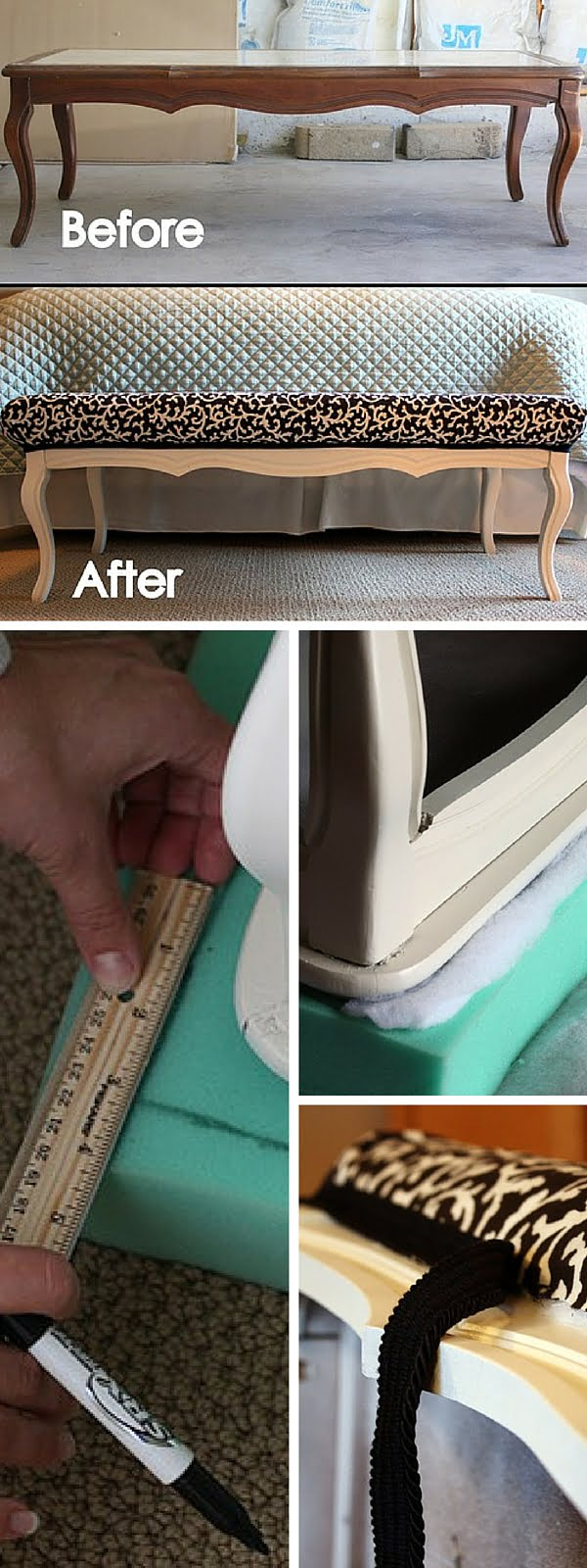 Check out the tutorial:  Turn an Old Coffee Table into a Bench