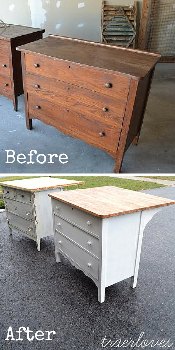 Turn a Dresser into a Kitchen Island! #DIY #crafts