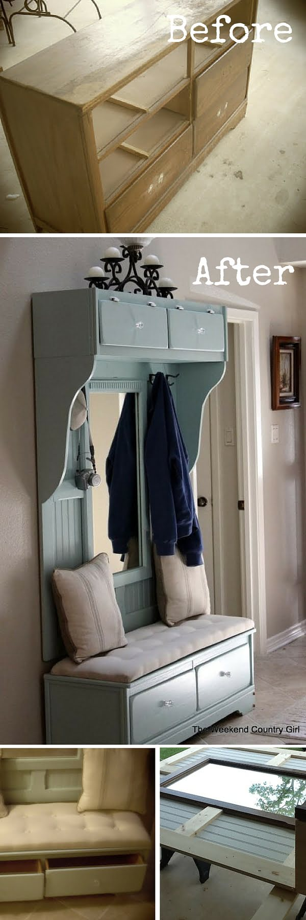 Check out the tutorial:  Turn a Dresser into a Mudroom Bench