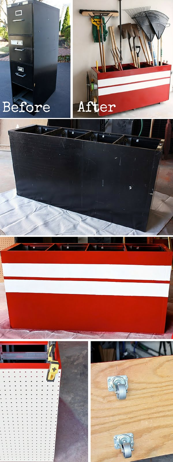 Check out the tutorial:  Turn an Old Filing Cabinet into a Garage Storage Unit