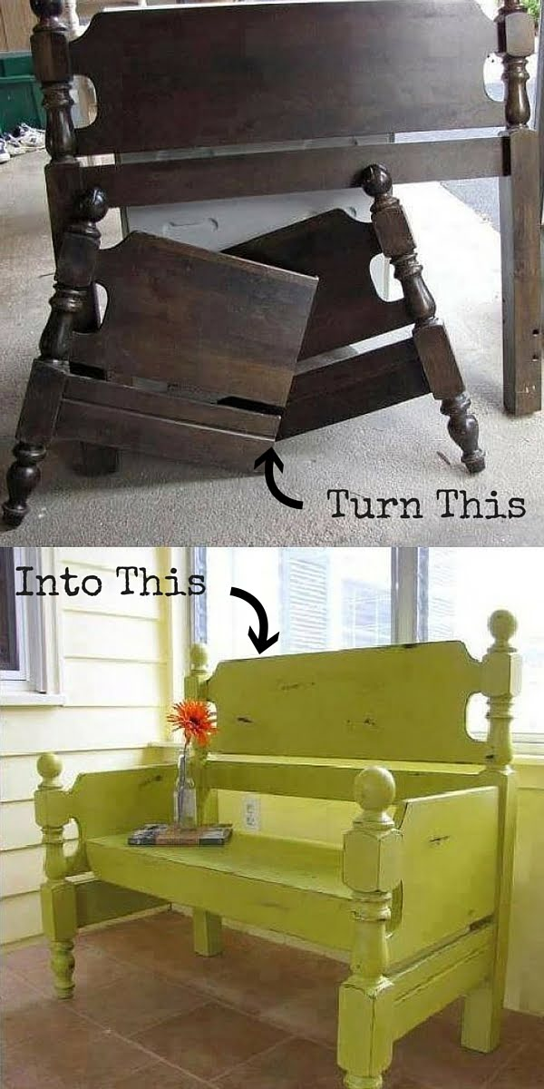Check out the tutorial:  Turn a Headboard into a Bench
