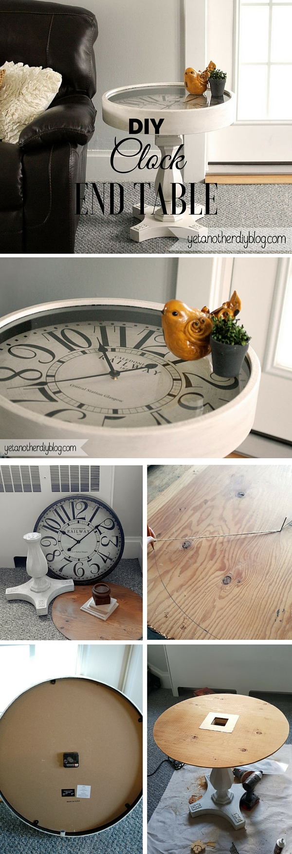 Check out the tutorial: #DIY Clock End Table