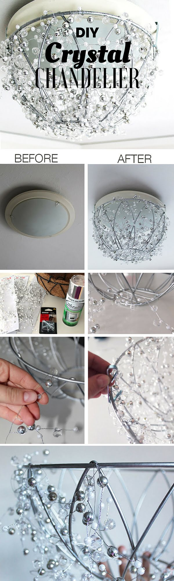 15 Easy and Brilliant DIY Home Decor Crafts on a Budget - Check out the tutorial: #DIY Crystal Chandelier