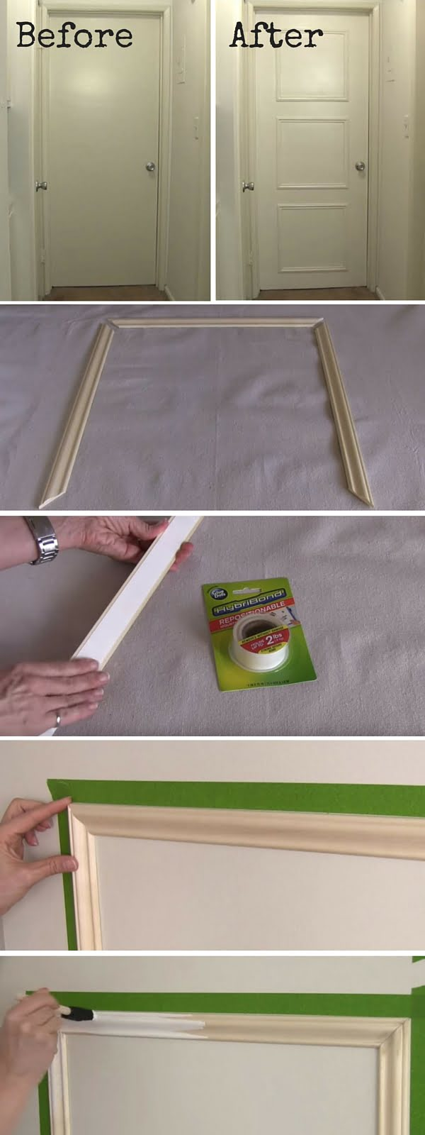 Check out the tutorial:  Decorative Door Trim