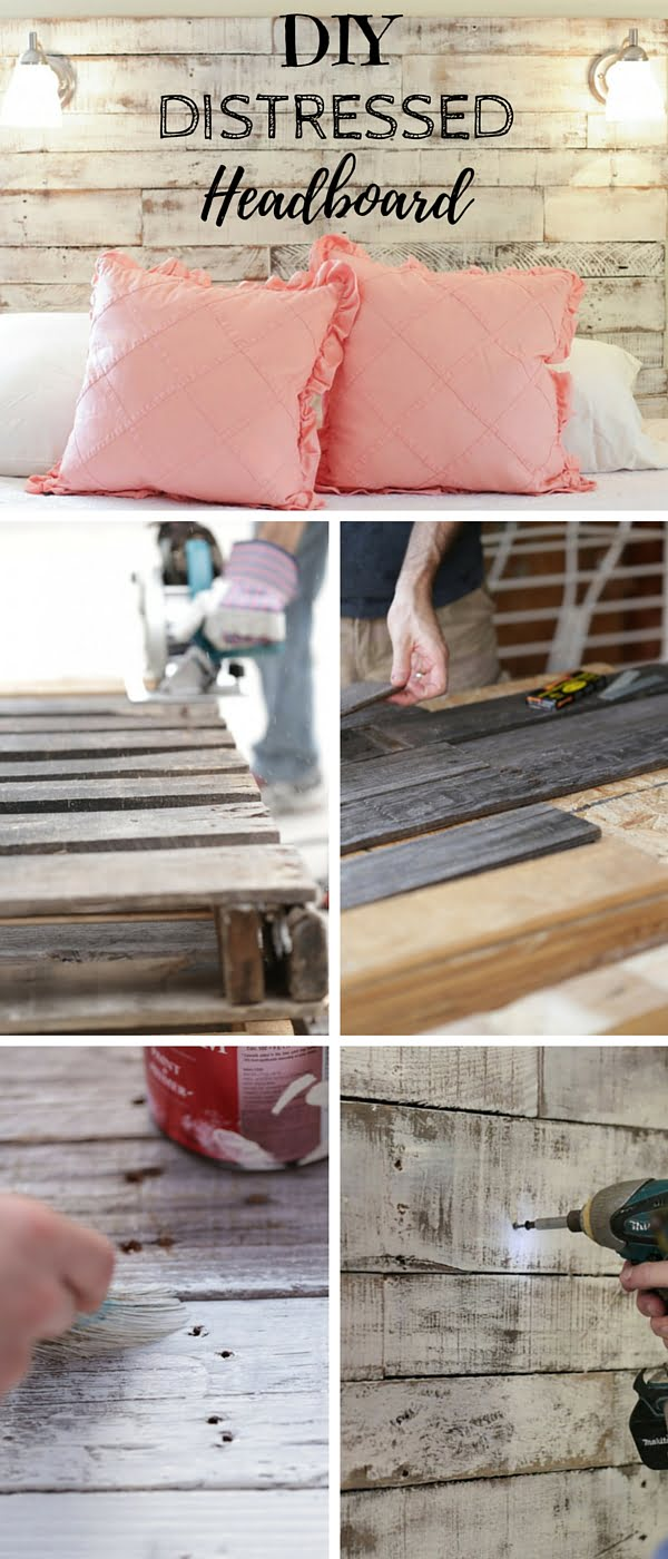 Check out the tutorial: #DIY Distressed Headboard #rustic #crafts #homedecor