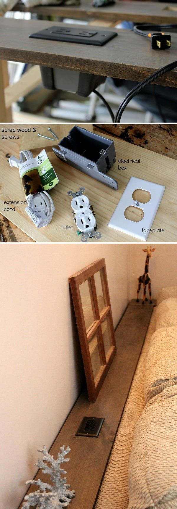 15 Easy and Brilliant DIY Home Decor Crafts on a Budget - Check out the tutorial on how to make a #DIY built-in power outlet #homedecor #woodworking