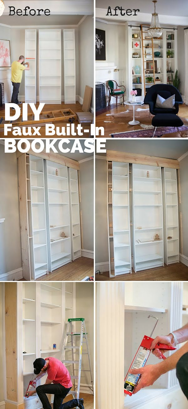 Check out the tutorial:  Faux Built-in Bookcase