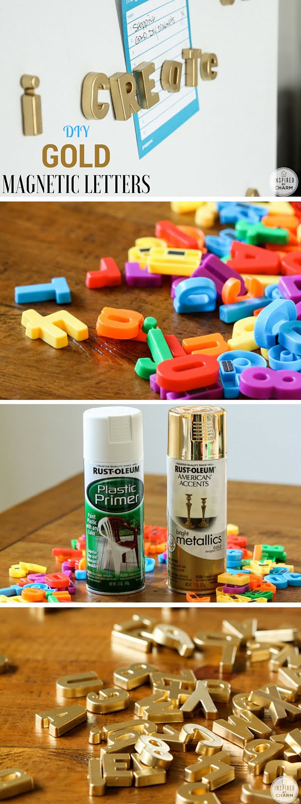 15 Easy and Brilliant DIY Home Decor Crafts on a Budget - Check out the tutorial: #DIY Gold Magnetic Letters