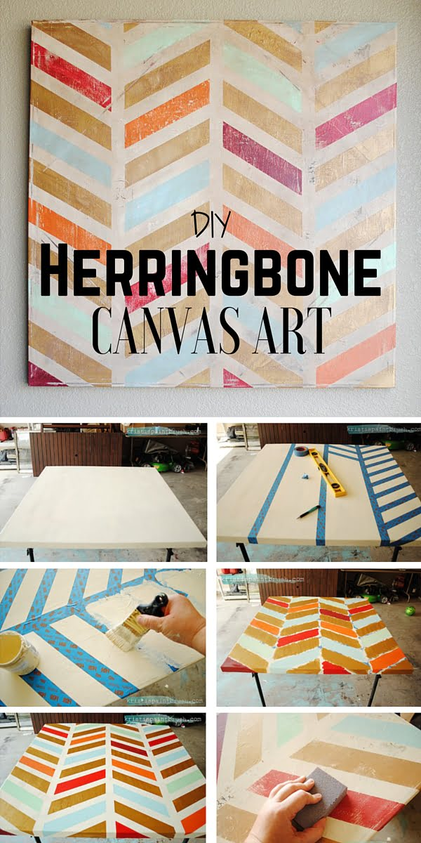 Check out the tutorial:  Herringbone Canvas Art
