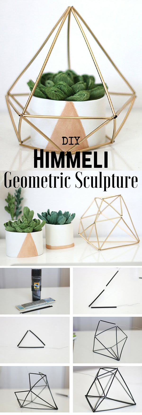 15 Easy and Brilliant DIY Home Decor Crafts on a Budget - Check out the tutorial: #DIY Himmeli Geometric Sculpture