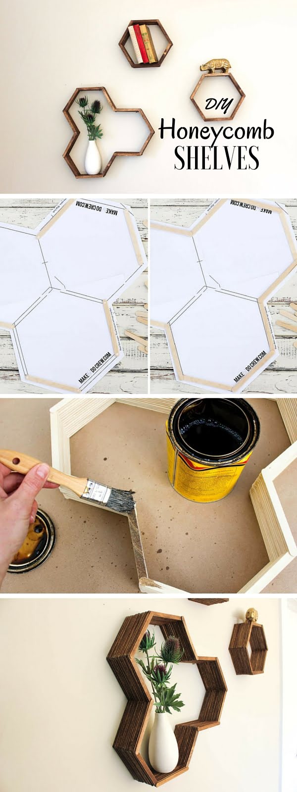 15 Easy and Brilliant DIY Home Decor Crafts on a Budget - Check out the tutorial: #DIY Honeycomb Shelves