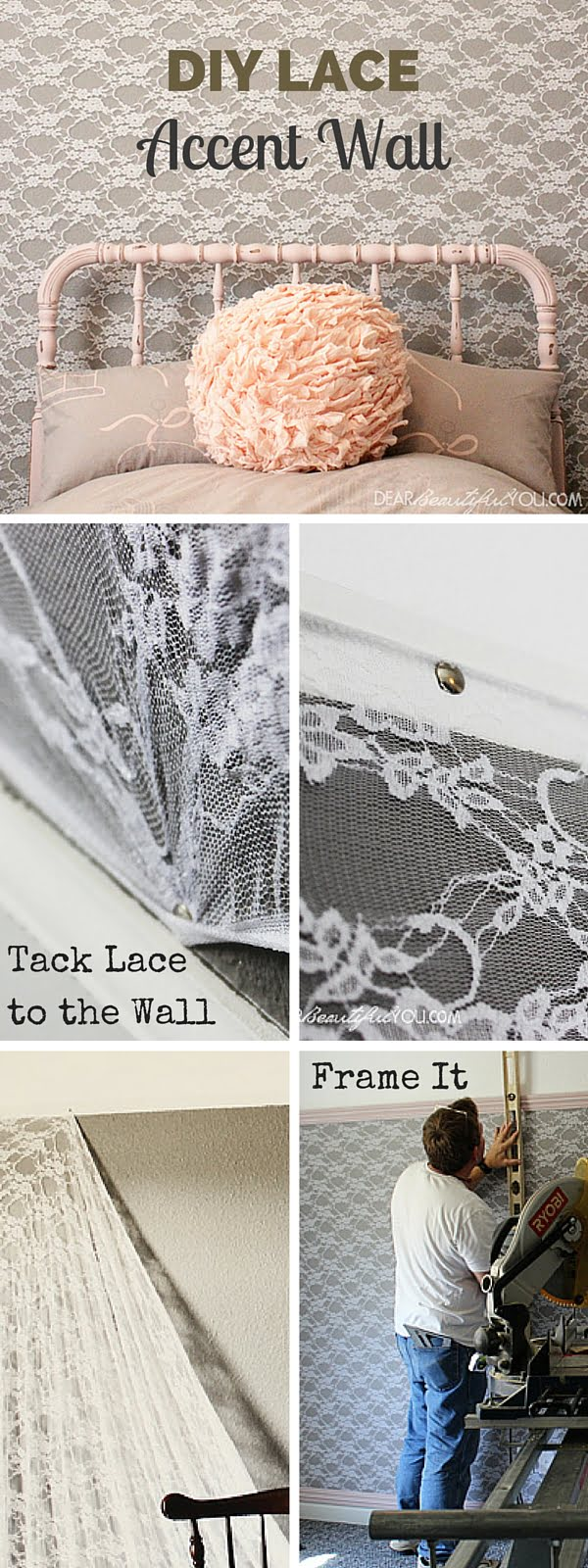 Check out the tutorial:  Lace Accent Wall