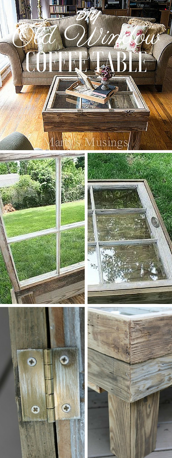 How to make a DIY Repurposed Window Coffee Table