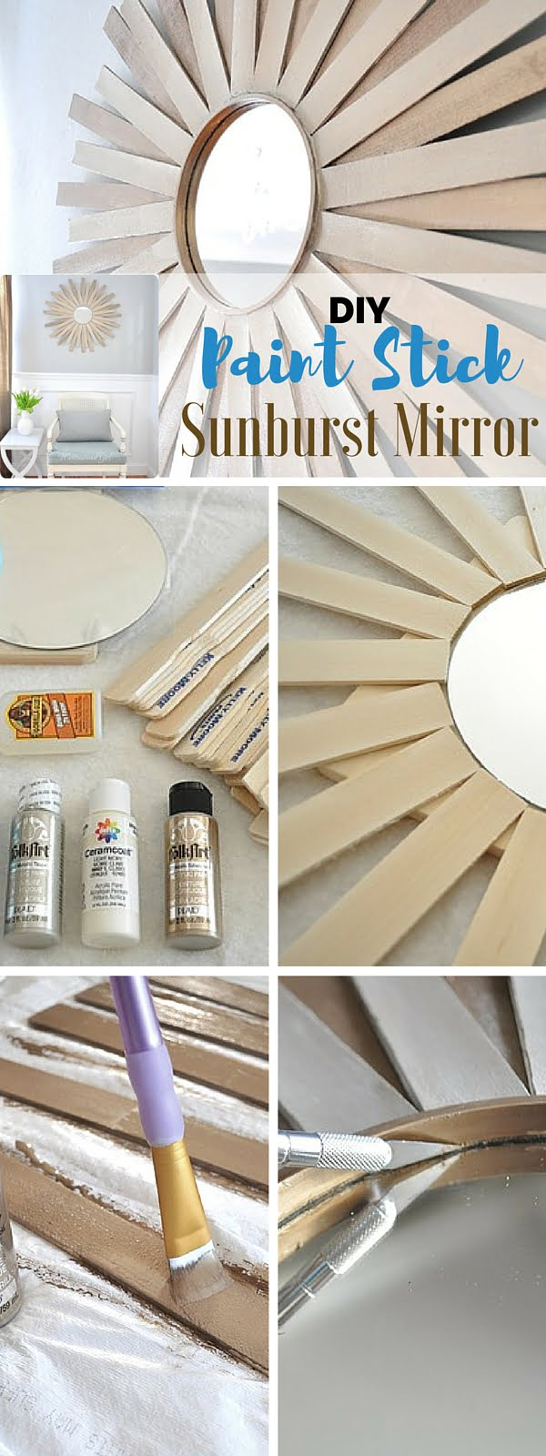 Check out the tutorial:  Paint Stick Sunburst Mirror
