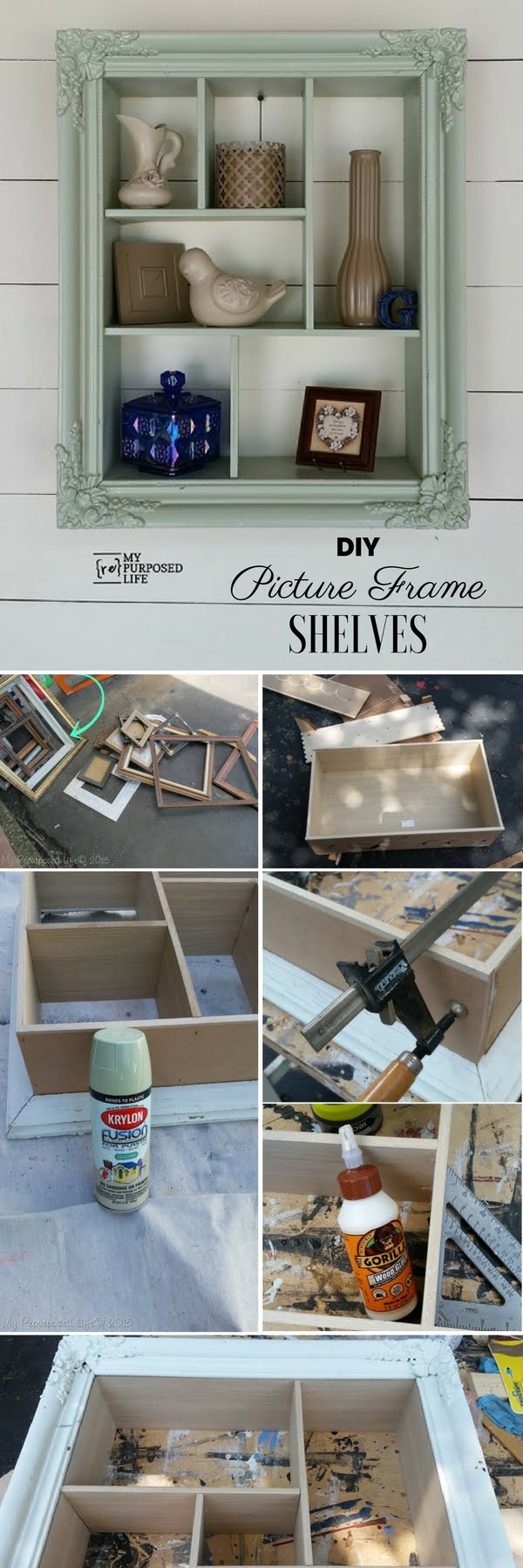 15 Easy and Brilliant DIY Home Decor Crafts on a Budget - Check out the tutorial: #DIY Picture Frame Shelves