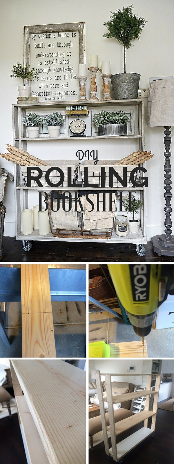 Check out the tutorial: #DIY Rolling Bookshelf