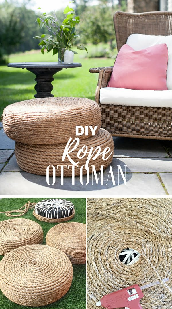 15 Easy and Brilliant DIY Home Decor Crafts on a Budget - Check out the tutorial: #DIY Rope Ottoman