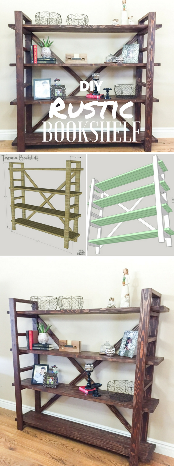Check out the tutorial: #DIY Rustic Bookshelf