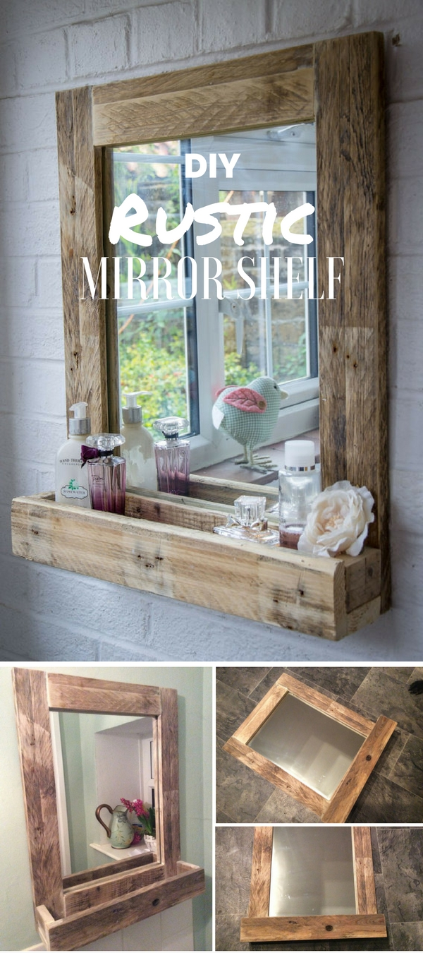 Check out the tutorial: #DIY Rustic Mirror Shelf