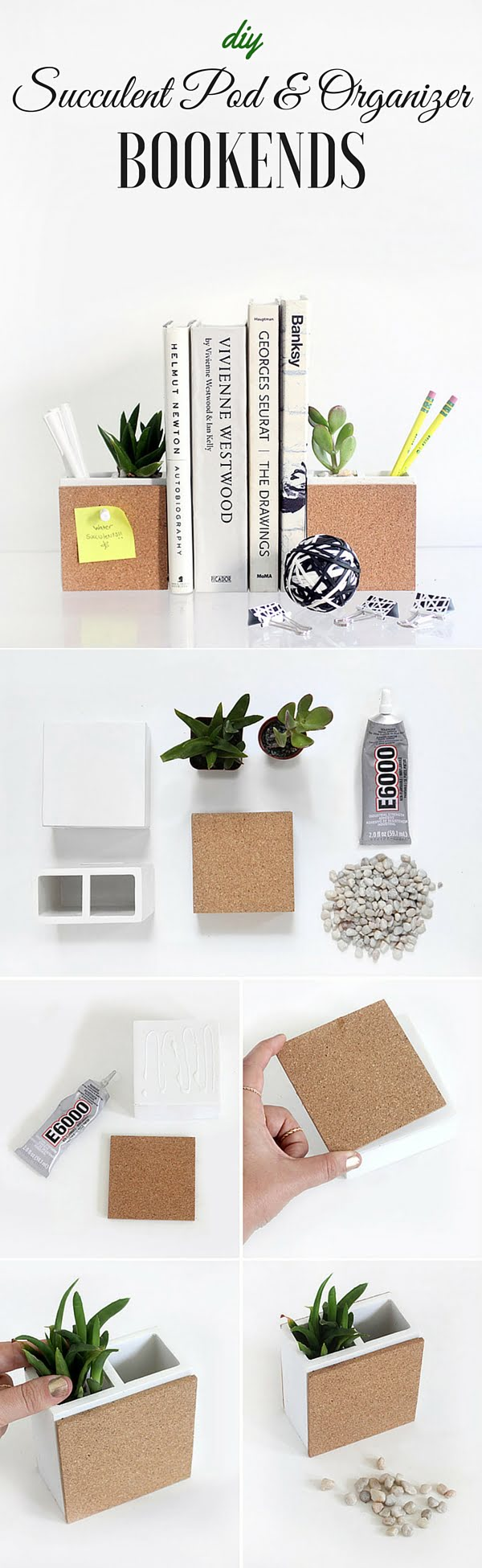 15 Easy and Brilliant DIY Home Decor Crafts on a Budget - Check out the tutorial: #DIY Succulent Pod & Organizer Bookends