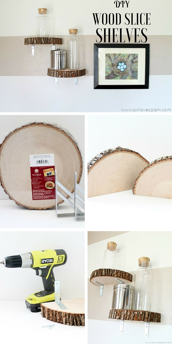Check out the tutorial: #DIY Wood Slice Shelves