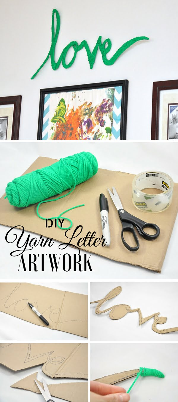 Check out this easy idea on how to make #DIY yarn letter wall art for #apartments #homedecor #budget #crafts