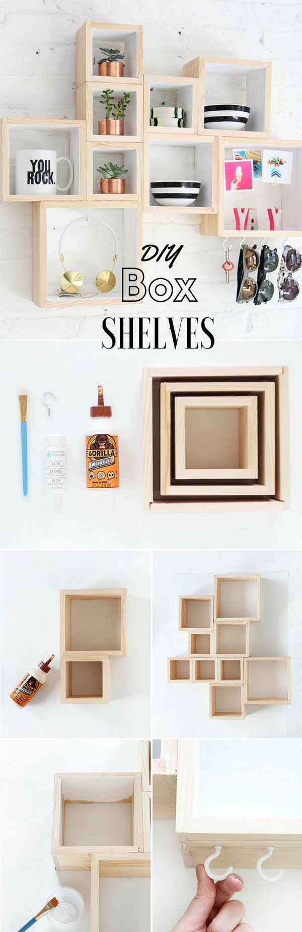 Check out the tutorial: #DIY Box Shelves