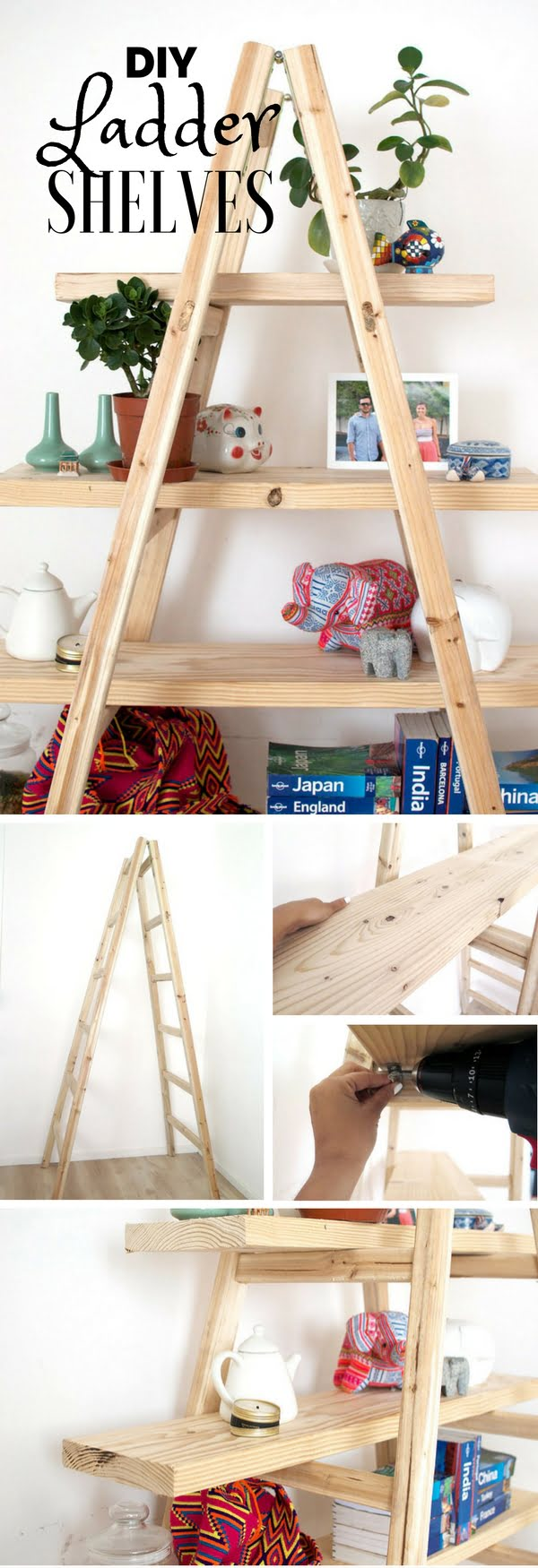 Check out the tutorial: #DIY Ladder Shelves