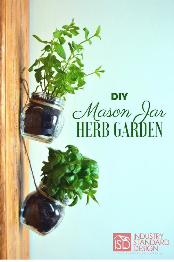 #DIY Hanging Mason Jar Herb Garden #homedecor