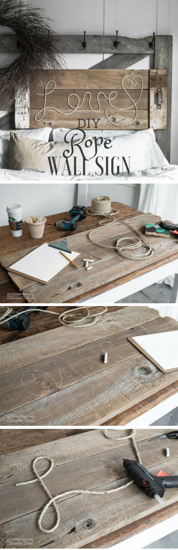 Check out this easy idea on how to make #DIY #rustic rope wall signs for #apartments #homedecor #budget