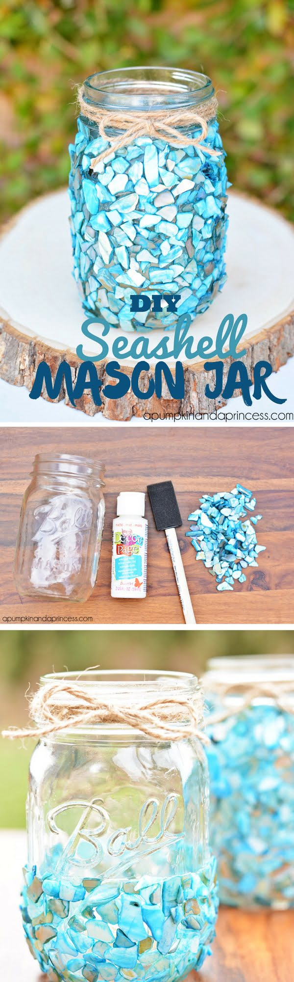 Check out the tutorial: #DIY Seashell Mason Jar