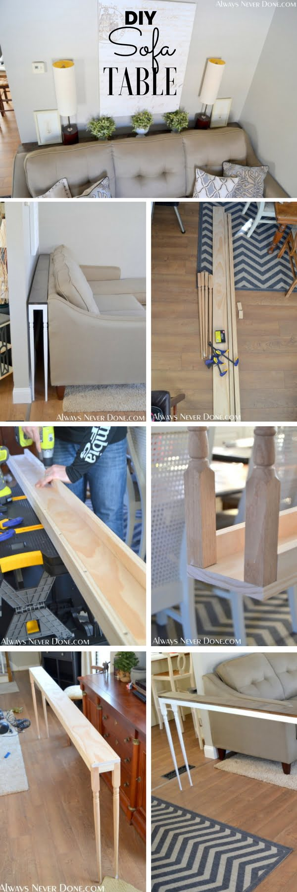Check out the tutorial: #DIY Sofa Table