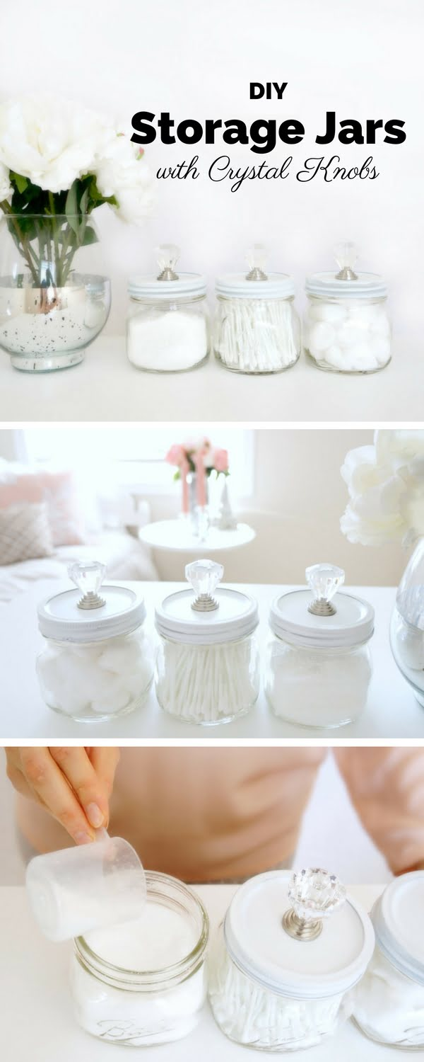 Check out the tutorial: #DIY Storage Jars with Crystal Knobs