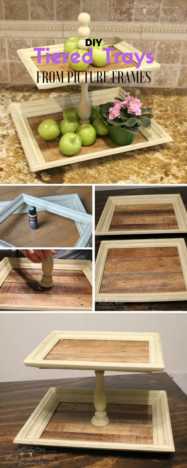 Check out the tutorial: #DIY Tiered Trays from Picture Frames