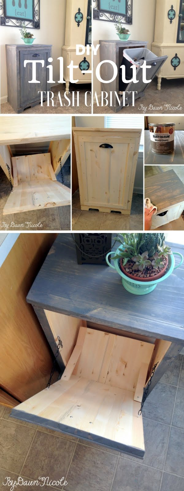 Check out the tutorial: #DIY Tilt Out Trash Cabinet