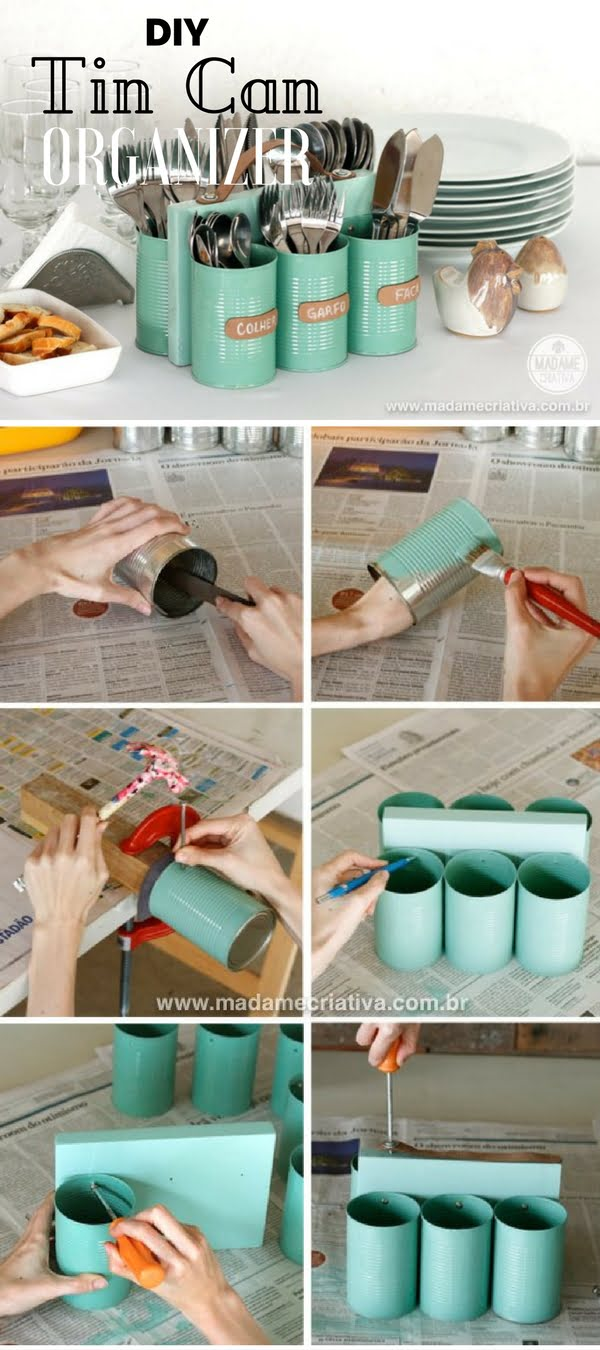 Check out the tutorial: #DIY Tin Can Organizer