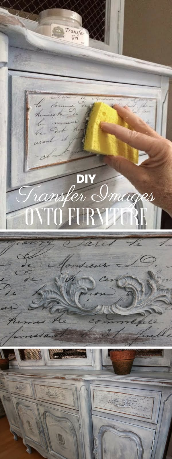 Check out the tutorial: #DIY Transfer Images onto Furniture