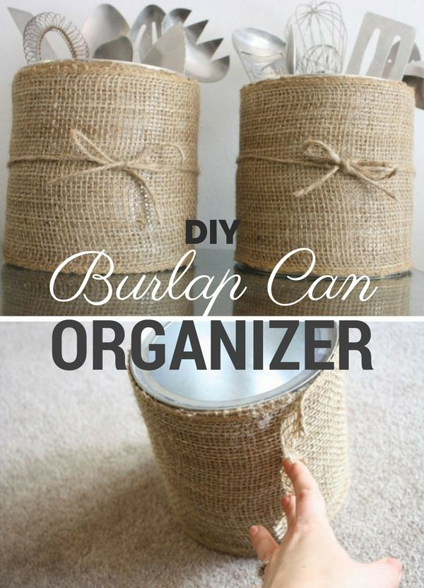 How to make  Burlap Can Organizer