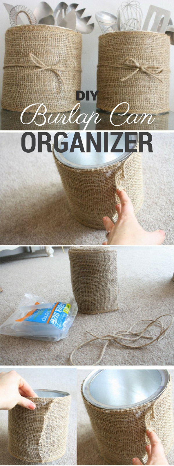 Check out the tutorial: #DIY Burlap Can Organizer