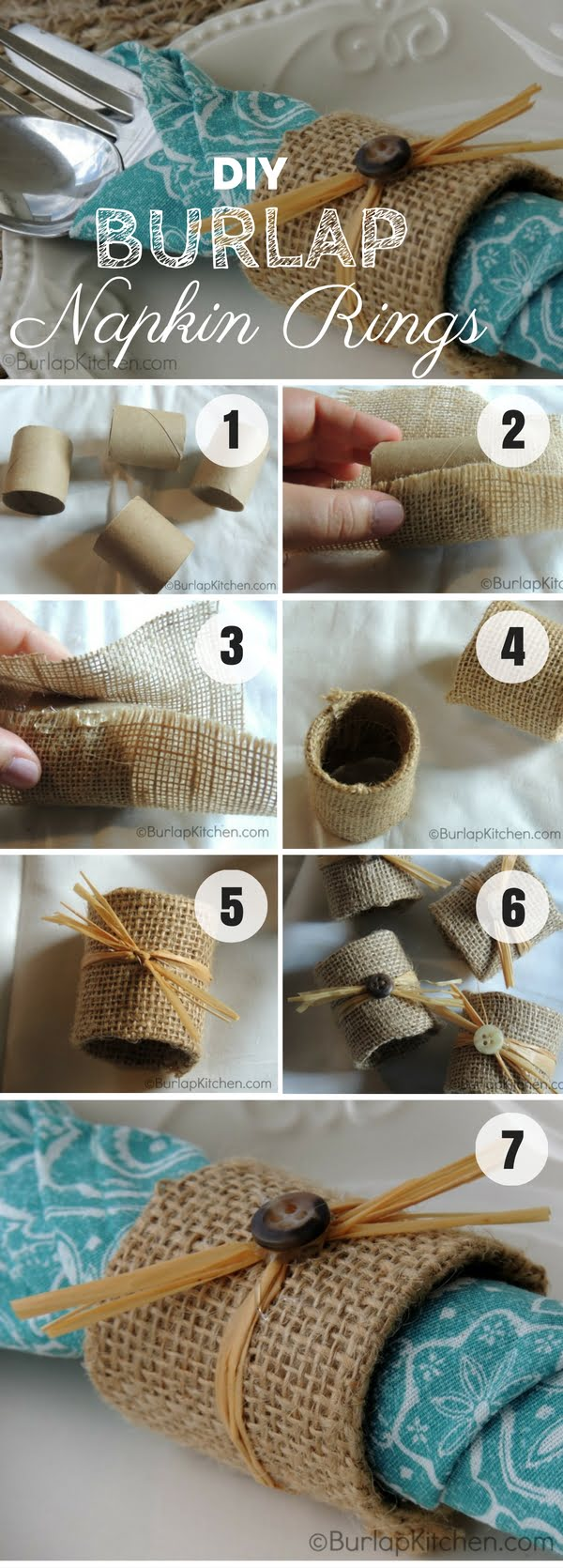 Easy to make DIY Burlap Napkin Rings for fall decor
